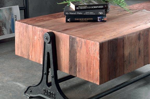 Table basse en bois d'Orme recyclé et piètement en fer vieilli 85x70x40cm CANADA