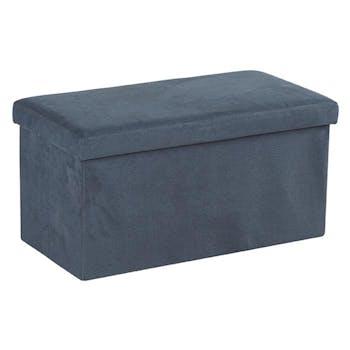 Banc Coffre tissu gris foncé façon Suédine 76x37,5x38cm PITCH