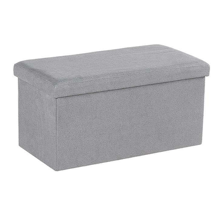 Banc Coffre tissu gris clair façon Suédine 76x37,5x38cm PITCH