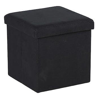 Pouf Coffre tissu noir façon suédine 38x38x38cm PITCH