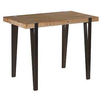 Table haute mange-debout en sapin massif doublé et pieds métal 140x80x105cm EPIKA