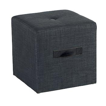 Pouf Cube Capitonné gris foncé et poignée noire 40x40x40cm HOUSE