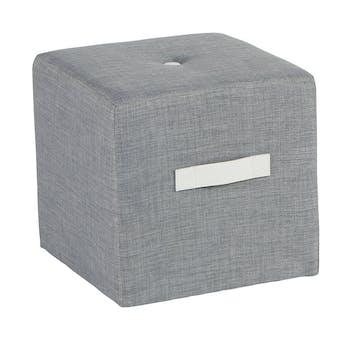 Pouf Cube Capitonné gris clair et poignée blanche 40x40x40cm HOUSE