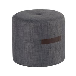 Pouf Rond Capitonné gris foncé et poignée couleur havane D44xH40cm HOUSE