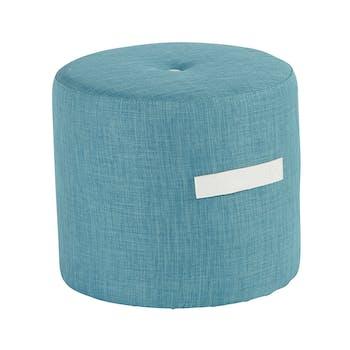 Pouf Rond Capitonné bleu et poignée blanche D44xH40cm HOUSE