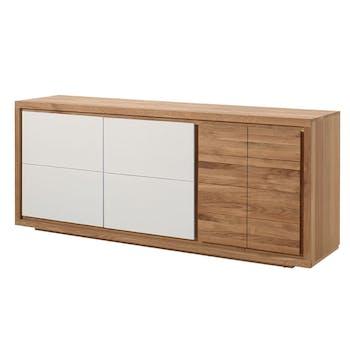 Buffet moderne bois laque blanche 3 portes MALMOE