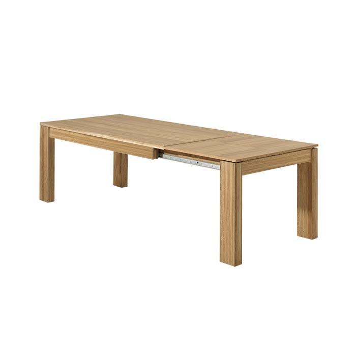 Table de Repas extensible bois naturel en Chêne massif 180/260x90x77cm MALMOE