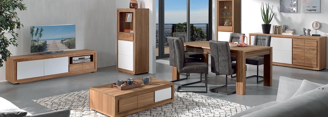 Meuble TV bois bicolore naturel / laqué blanc en Chêne massif 2 portes, 1 tiroir, 1 niche 180x48x50cm MALMOE