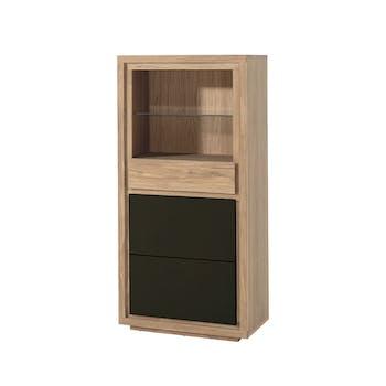 Bibliothèque / Buffet bois bicolore naturel / laqué noir en Chêne massif 1 porte, 1 tiroir, 1 étagère 74x40x150cm MALMOE2