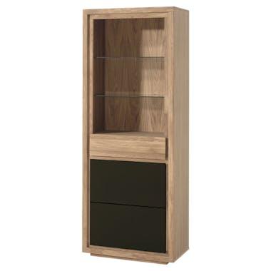 Bibliothèque Etagère bicolore naturel / laqué noir en Chêne massif 1 porte, 1 tiroir, 2 étagères 74x40x190cm MALMOE2