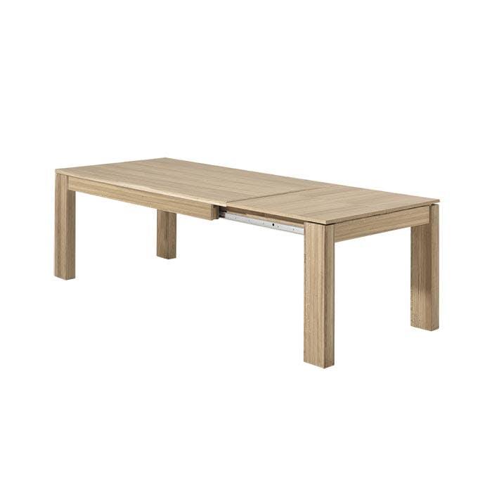 Table de Repas extensible bois naturel en Chêne massif 180/260x90x77cm MALMOE2
