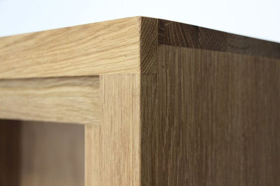 Table basse bois bicolore naturel / laqué noir en Chêne massif 1 niche, 1 tiroir 110x65x32cm MALMOE2
