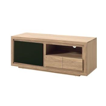 Meuble TV bois bicolore naturel / laqué noir en Chêne massif 1 porte, 1 tiroir, 1 niche 128x40x50cm MALMOE2