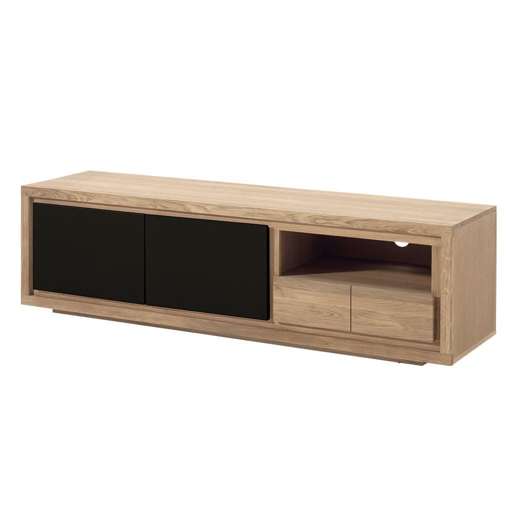 Meuble TV bois bicolore naturel / laqué noir en Chêne massif 2 portes, 1 tiroir, 1 niche 180x48x50cm MALMOE2