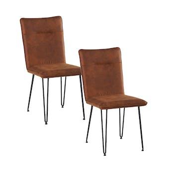 Lot de 2 Chaises en tissu marron havane et pieds métal en épingle 47x60x92cm KERALA