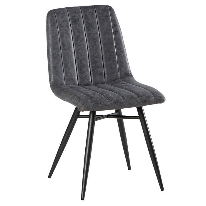 Lot de 2 Chaises en tissu gris et pieds métal évasés 45x54x88cm KERALA