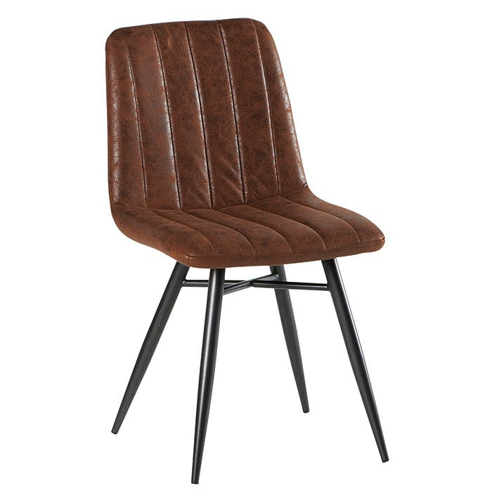Lot de 2 Chaises en tissu marron havane et pieds métal évasés 45x54x88cm KERALA