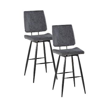 Lot de 2 Chaises de Bar rétro en tissu gris et pieds métal évasés 47x58x115cm KERALA