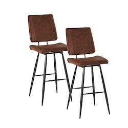 Lot de 2 Chaises de Bar rétro en tissu marron havane et pieds métal évasés 47x58x115cm KERALA