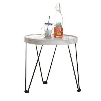Table basse blanche en Rotin et pieds métal D47xH47cm