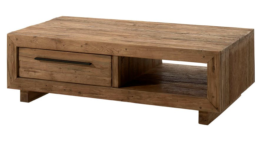 Table basse en Teck massif naturel, 2 tiroirs, 1 niche 130x70x40cm KERALA