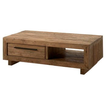 Table basse en Teck massif naturel, 2 tiroirs, 1 niche 130x70x40cm KERALA