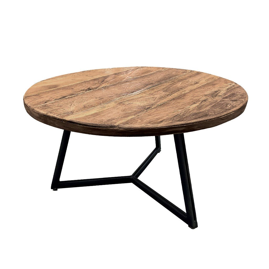 Table basse ronde en Teck massif naturel D55xH30cm KERALA
