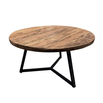 Table basse ronde en Teck massif naturel recyclé D55xH30cm KERALA