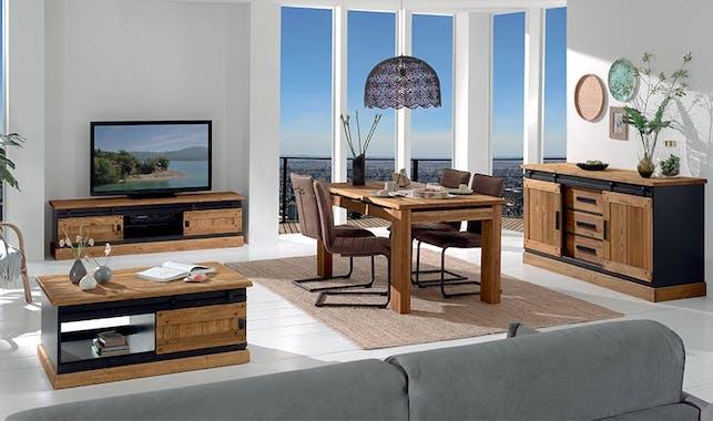Buffet en Pin massif brossé et laqué noir, 2 portes coulissantes, 3 tiroirs 180x53x90cm SHERBROOKE