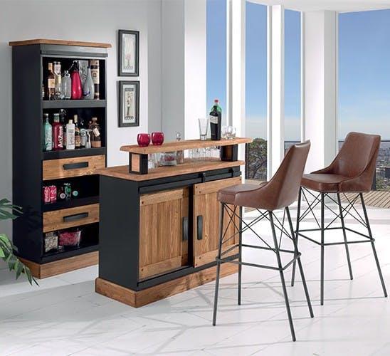 Bar en Pin massif brossé et laqué noir, 4 portes dont 1 coulissante, 2 étagères 120x52x105cm SHERBROOKE
