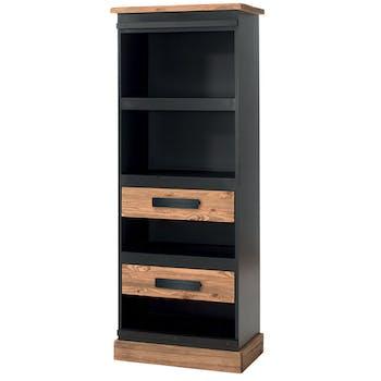 Etagère en Pin massif brossé et laqué noir, 2 tiroirs, 2 niches, 1 étagère 70x43x180cm SHERBROOKE