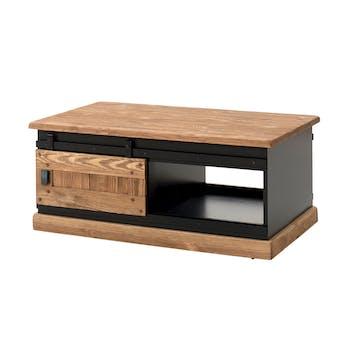 Table basse en pin massif brossé et laqué noir, 2 portes coulissantes 110x70x47cm SHERBROOKE