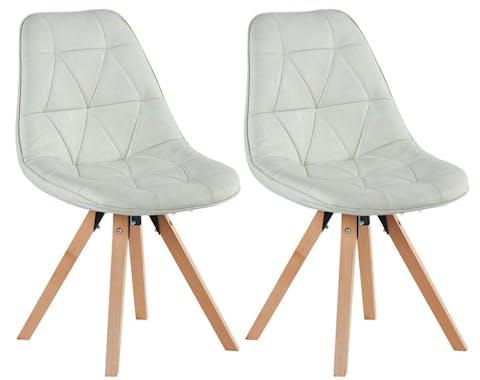 Chaise scandinave blanc capitonnée MAYA (lot de 2)