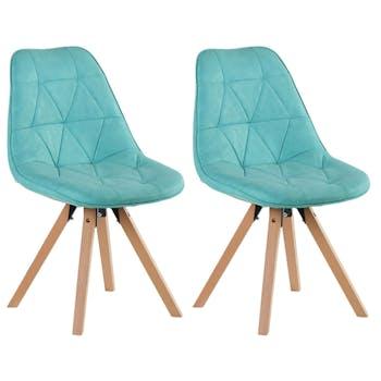 Chaise scandinave bleu turquoise capitonnée MAYA (lot de 2)
