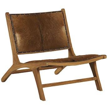 Chaise bois de teck peau Lampang