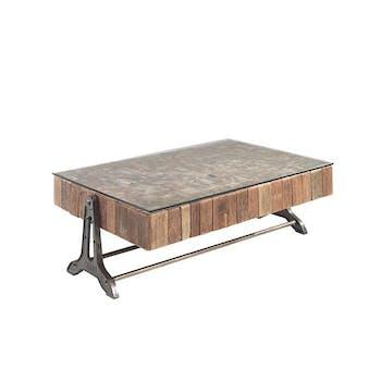 Table basse teck recyclé métal Lampang