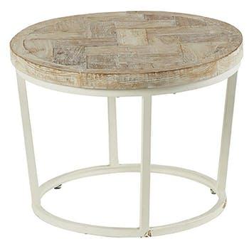 Table basse ronde teck recyclé mosaïque Lampang