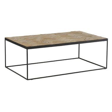 Table basse rectangulaire teck massif mosaïque Lampang