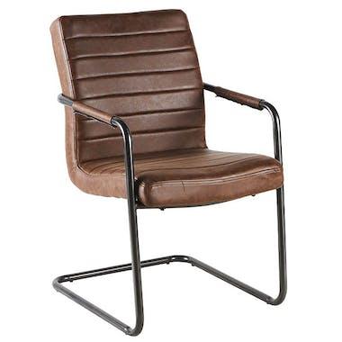 Chaise vintage marron havane rayures