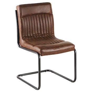Chaise vintage marron havane rayé