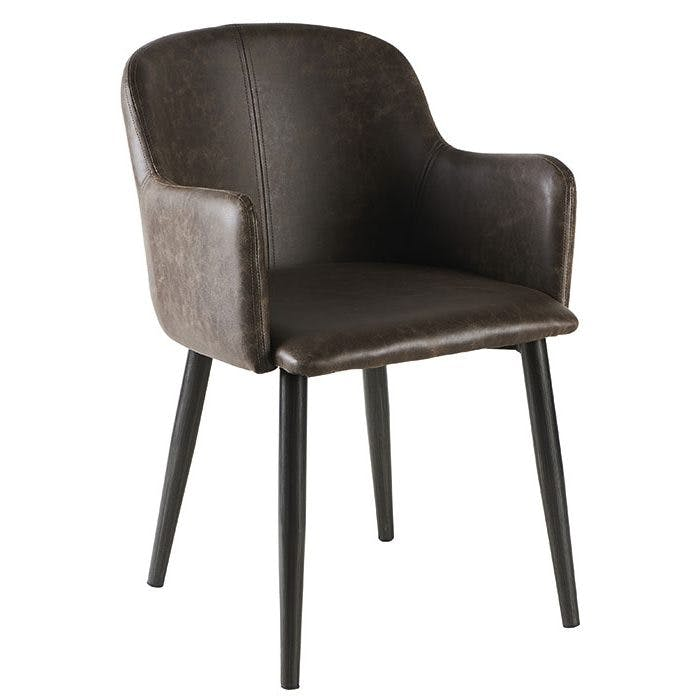 Fauteuil vintage tissu taupe