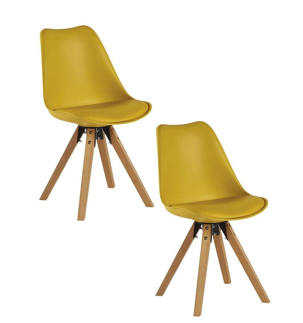 Chaise scandinave jaune TONY (lot de 2)