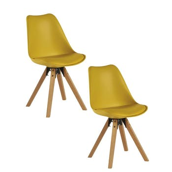 Chaise scandinave jaune TONY (lot de 2)