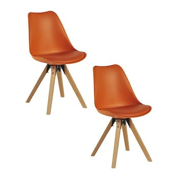 Chaise scandinave orange TONY (lot de 2)