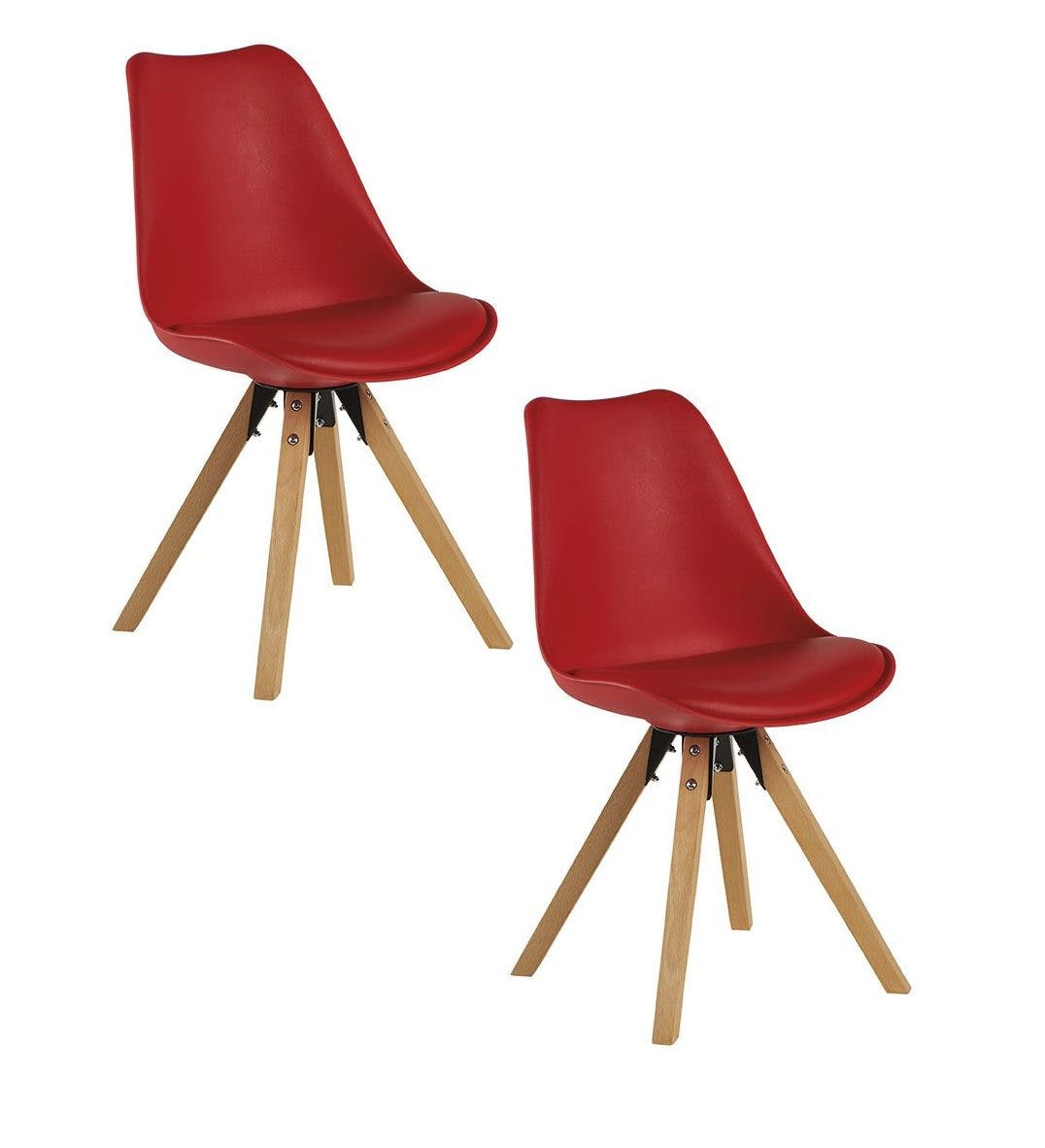 Chaise scandinave rouge TONY (lot de 2)