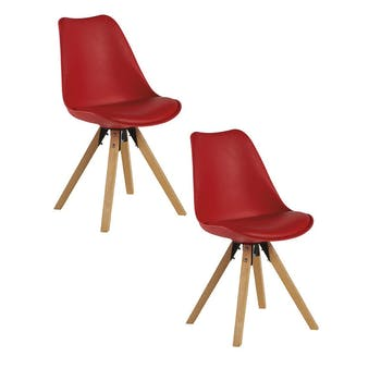 Chaise scandinave rouge TONY (lot de 2)