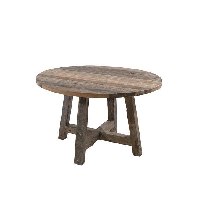 Table à manger ronde teck recyclé D120 Agra