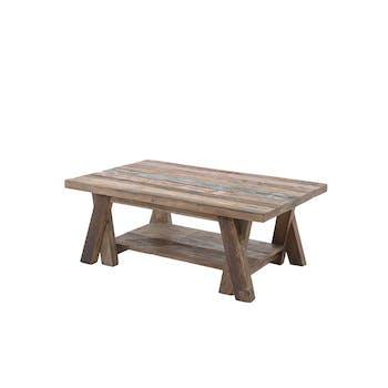 Table basse teck recyclé double plateau Agra
