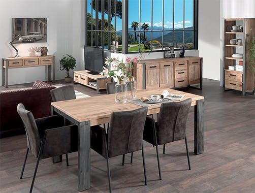 Table à manger rectangulaire bois massif métal 180 OUDONG