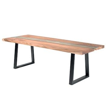 Table à manger rectangulaire bois massif verre trempé 190 KANPUR